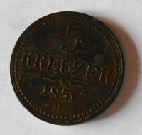 Uhry 3 Krejcar 1851 B