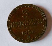 Uhry 3 Krejcar 1851 B stav