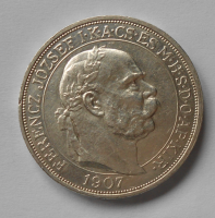 Uhry 5 Korun 1907 Korunovační