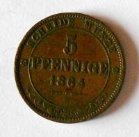 Sasko 5 Pfenik 1864