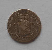 Španělsko 50 Centimos 1880 Alfonzo XII.