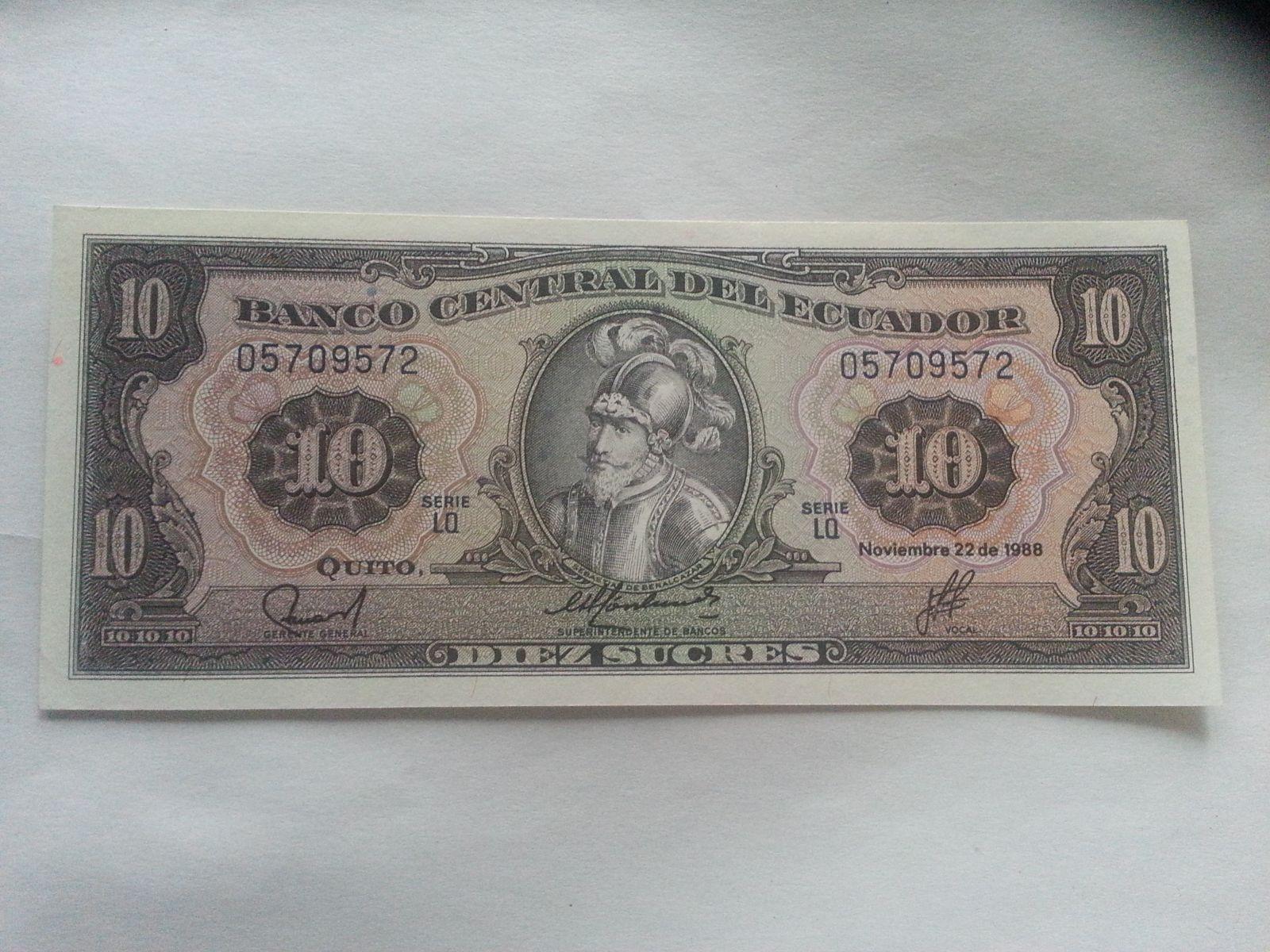 10 Sucres, 1988, Ekvádor