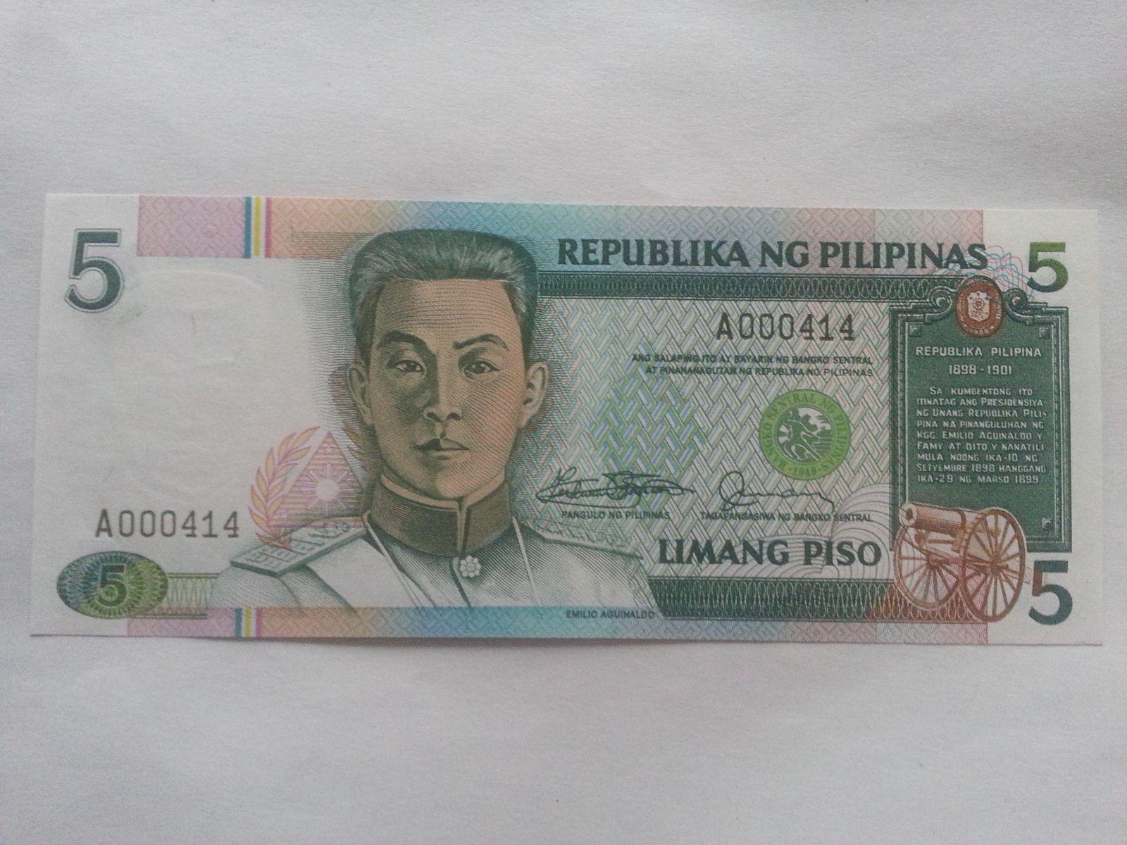 5 Piso, Aguinaldo, Filipíny