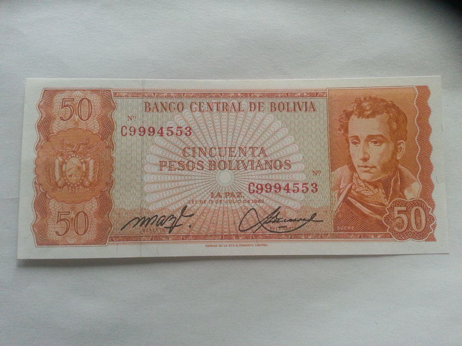 50 Bolivianos, 1962, Bolivie