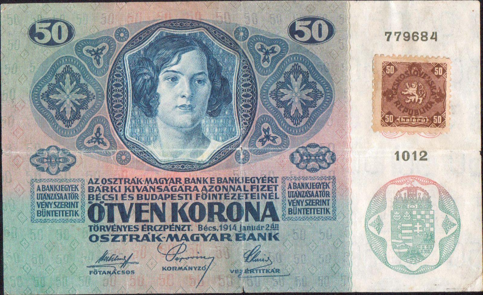 50Kč/1914-18, kolek ČSR/, stav 4, série 1012