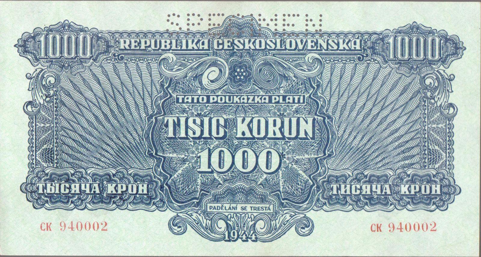 1000K/1944/, stav 0 perf. SPECIMEN, série CK