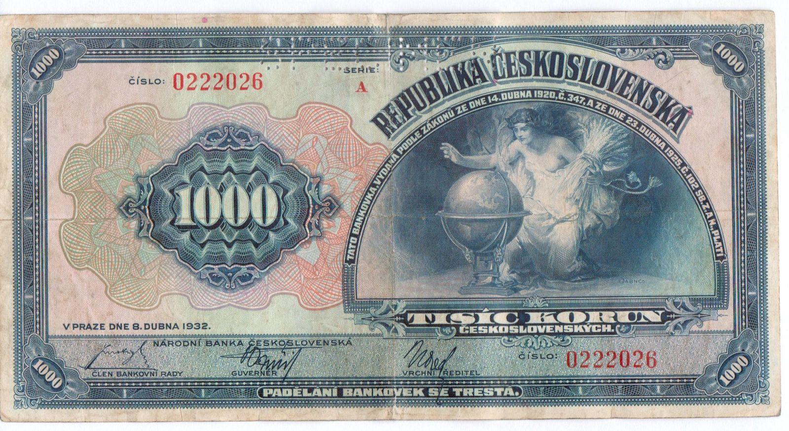 1000Kč/1932/, stav 2- perf. SPECIMEN, série A 0222026