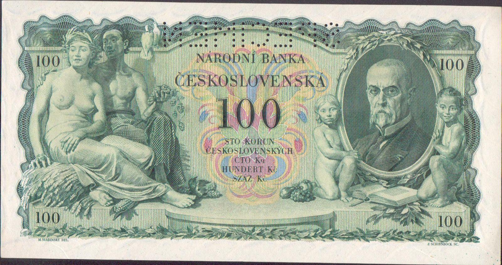 100Kč/1931/, stav UNC perf. SPECIMEN, série N