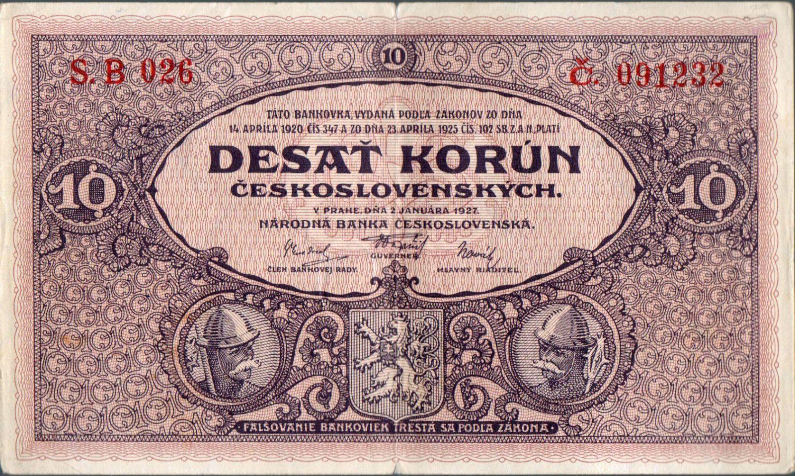 10Kč/1927/, stav 1- dr.n., série B 026