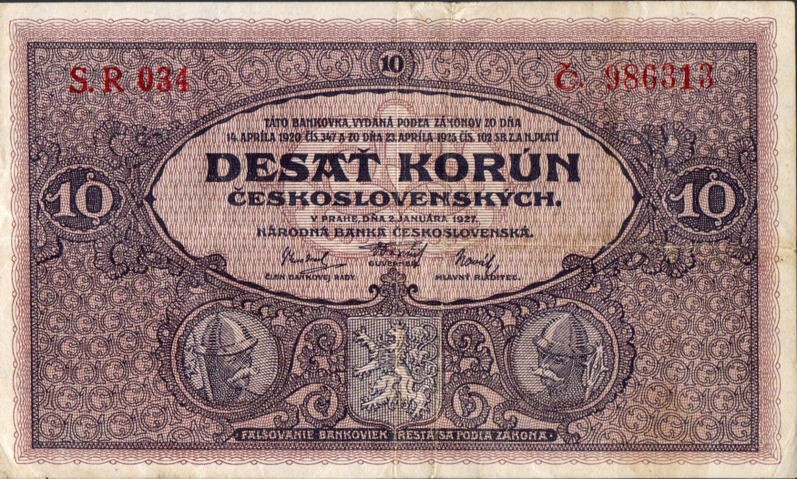 10Kč/1927/, stav 2, série R 034