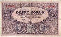 10Kč/1927/, stav 2- sv., série P 005