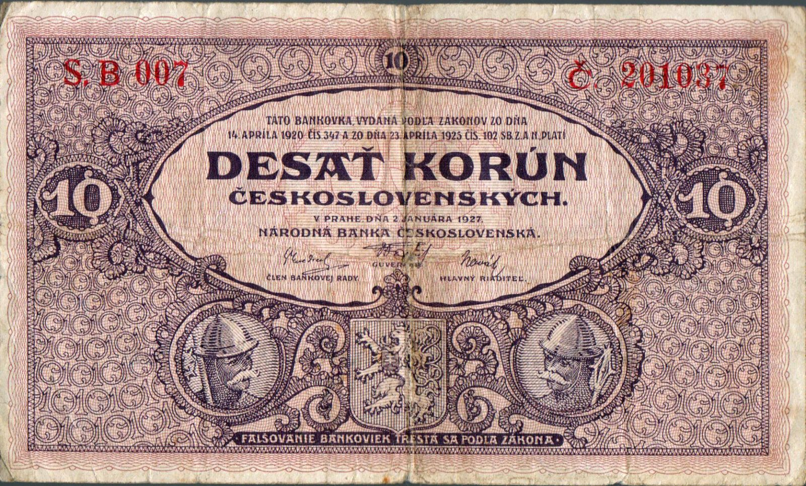 10Kč/1927/, stav 4, série B 007