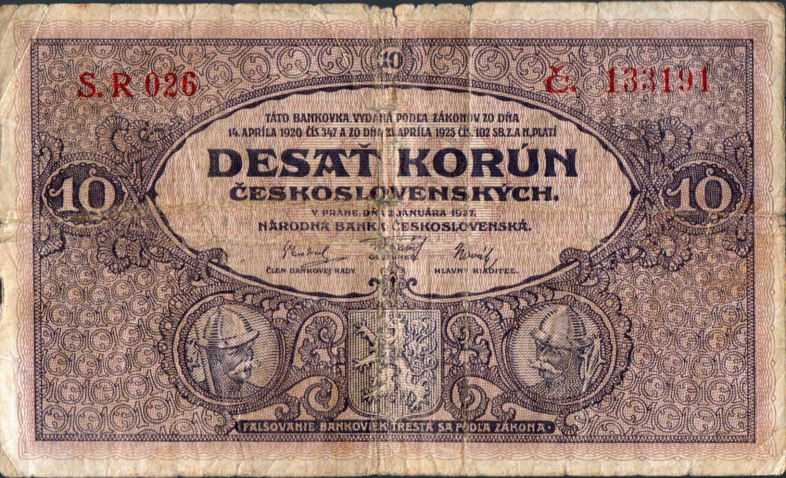 10Kč/1927/, stav 4-, série R 026