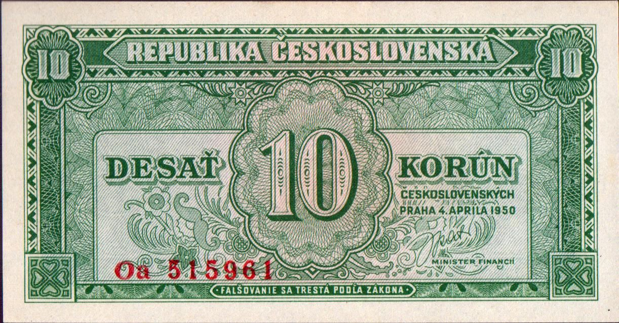 10Kčs/1950/, stav UNC, různé série - dvoupísmenná
