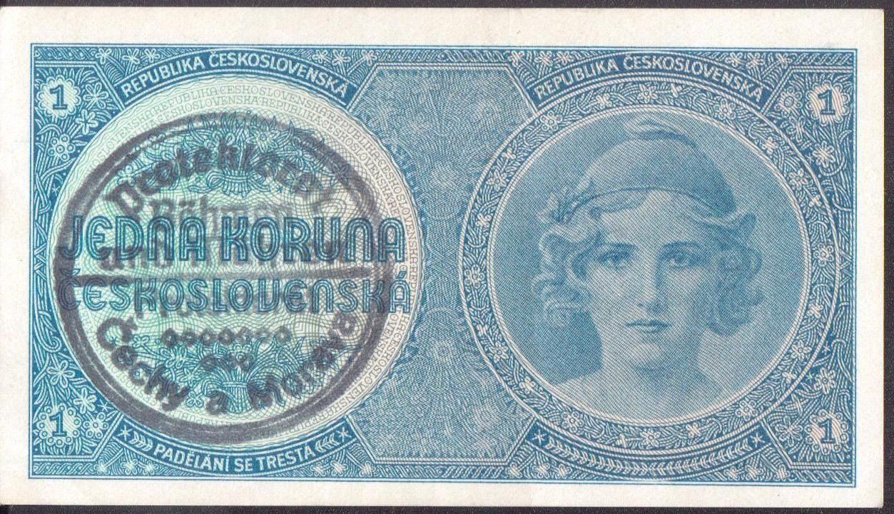 1K/1938-40/, stav 1+, série A 008, ruční přetisk