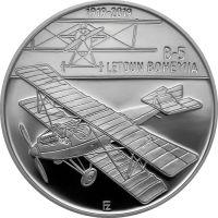 200 Kč(2019-sestrojení prvního letadla Bohemia B-5), stav PROOF, etue a certifikát