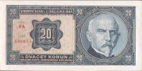 20Kč/1926/, stav UNC perf. SPECIMEN, série Fh