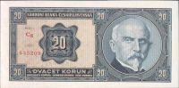 20Kč/1926/, stav UNC, série Cg