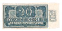 20Kčs/1953/, stav 2+, série A 03, bez čísla - původní kus vystřižený z archu