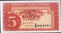 5Kčs/1945-bl/, stav UNC perf. S, série XR