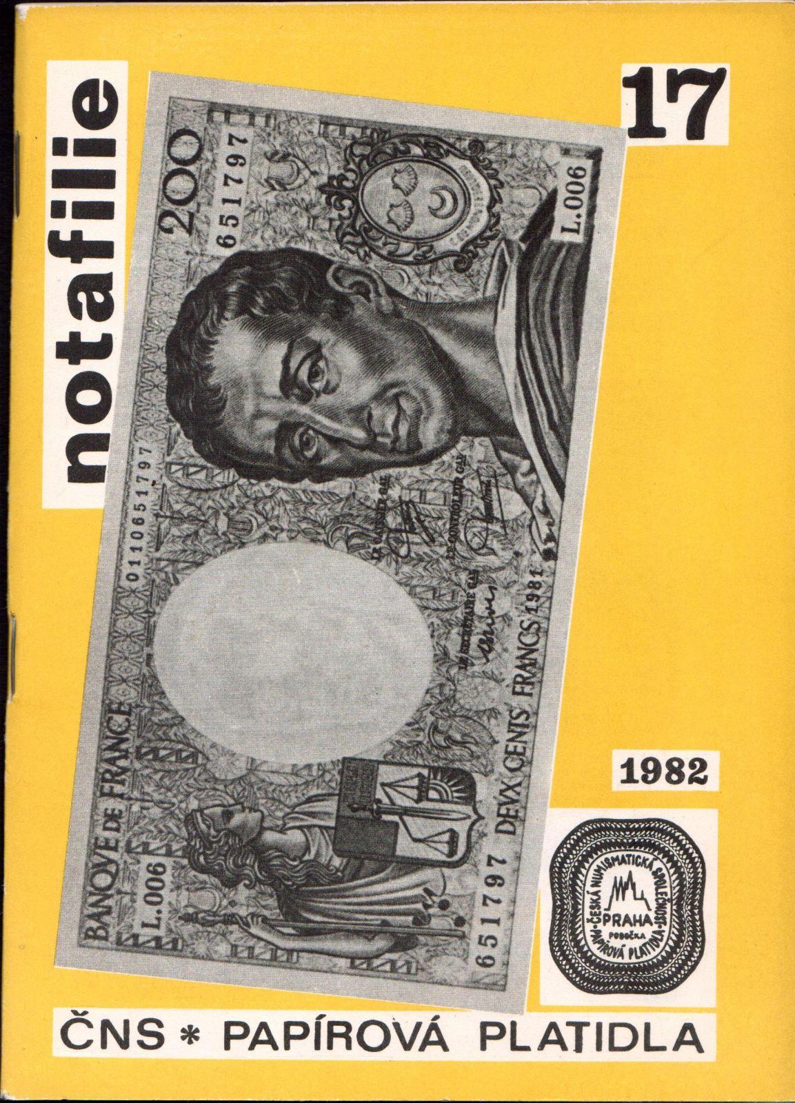 Časopis NOTAFILIE č. 17 (1982), vydaný ČNS - pobočka papírová platidla