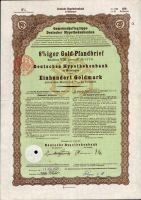 Dluhopis Deutsche hypothekenbank in Meiningen/1926/, 100 Goldmark, 8%, formát A4