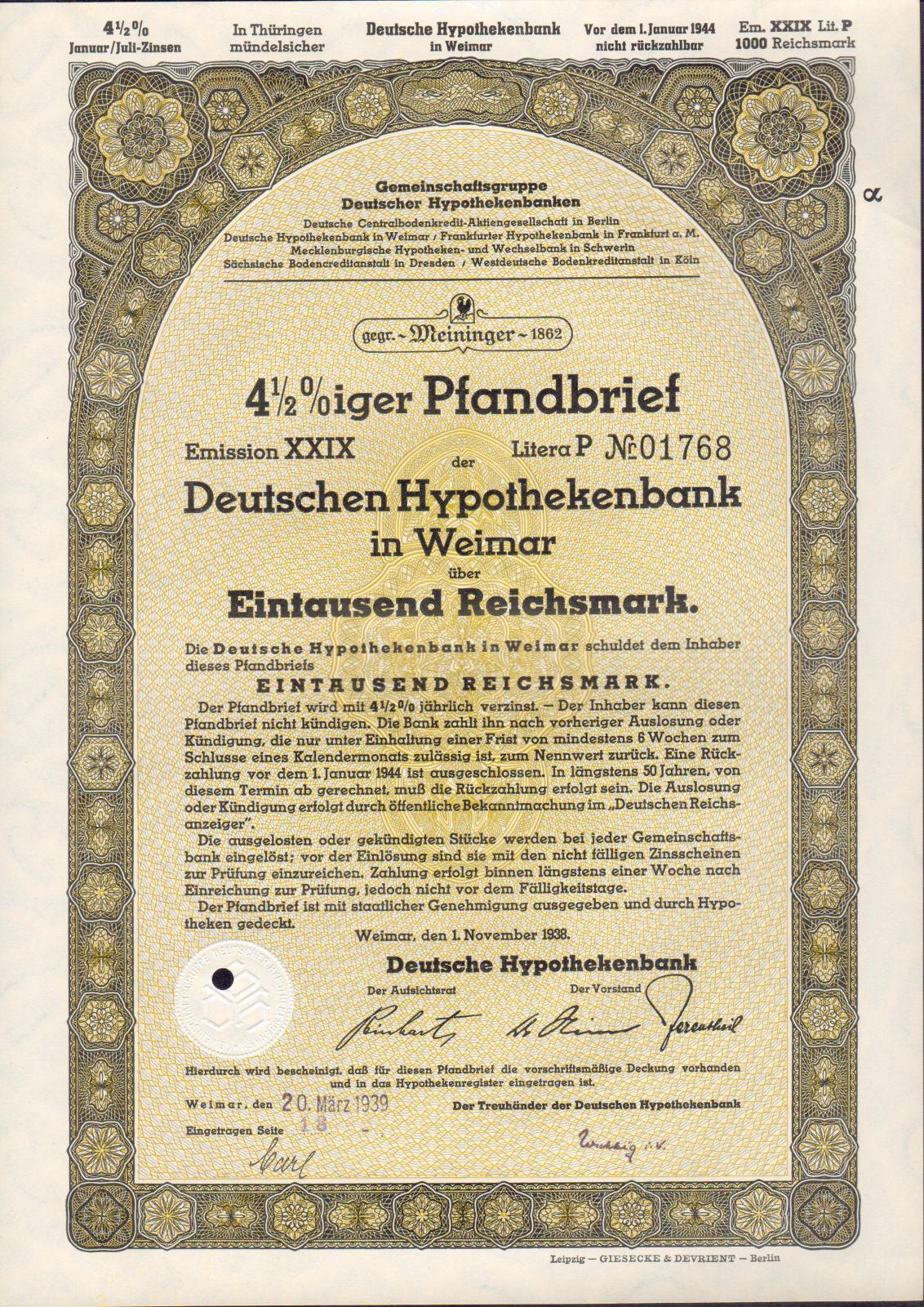 Dluhopis Deutsche Hypothekenbank in Weimar/1938/, 1000 Reichsmark, 4 1/2%, formát A4
