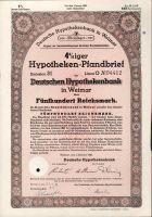 Dluhopis Deutsche hypothekenbank in Weimar/1940/, 500 Reichsmark, 4%, formát A4