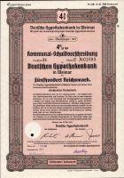 Dluhopis Deutsche hypothekenbank in Weimar/1946/, 500 Reichsmark, 4%, formát A4