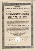 Dluhopis Deutsche Kommunal Sammel, Berlín/1926/ 100 Reichsmark, formát A4