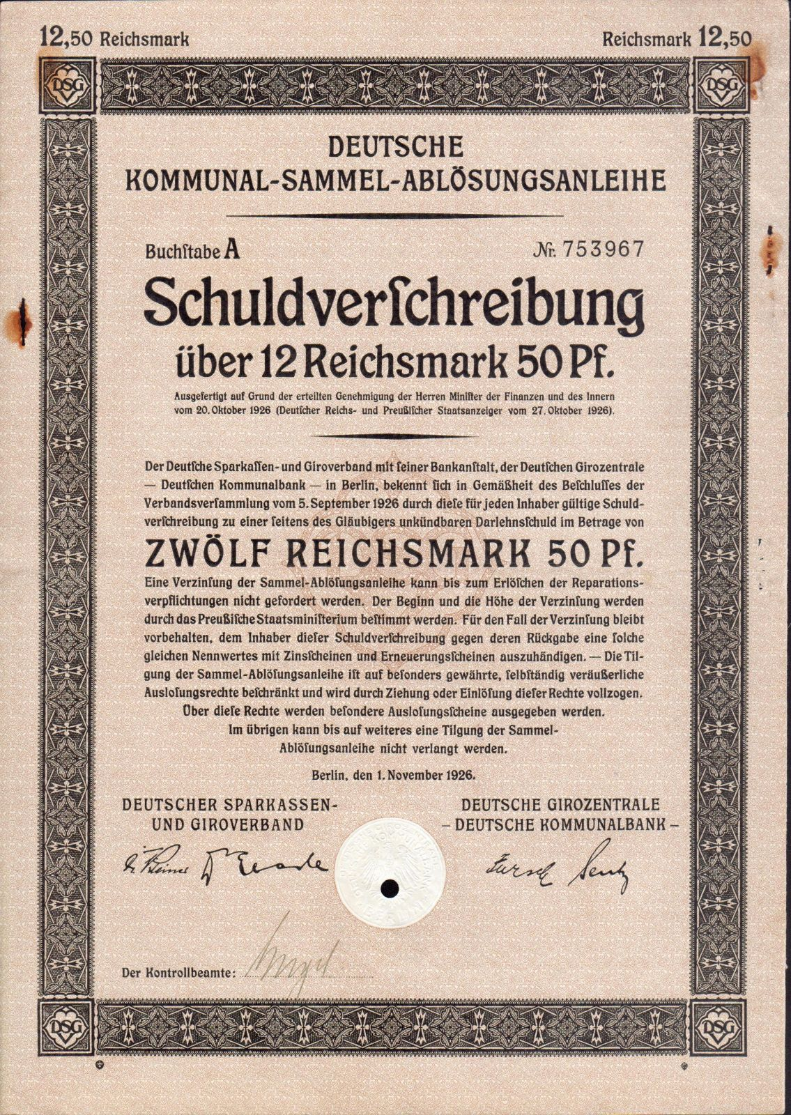 Dluhopis Deutsche Kommunal Sammel, Berlín/1926/ 12,50 Reichsmark, formát A4