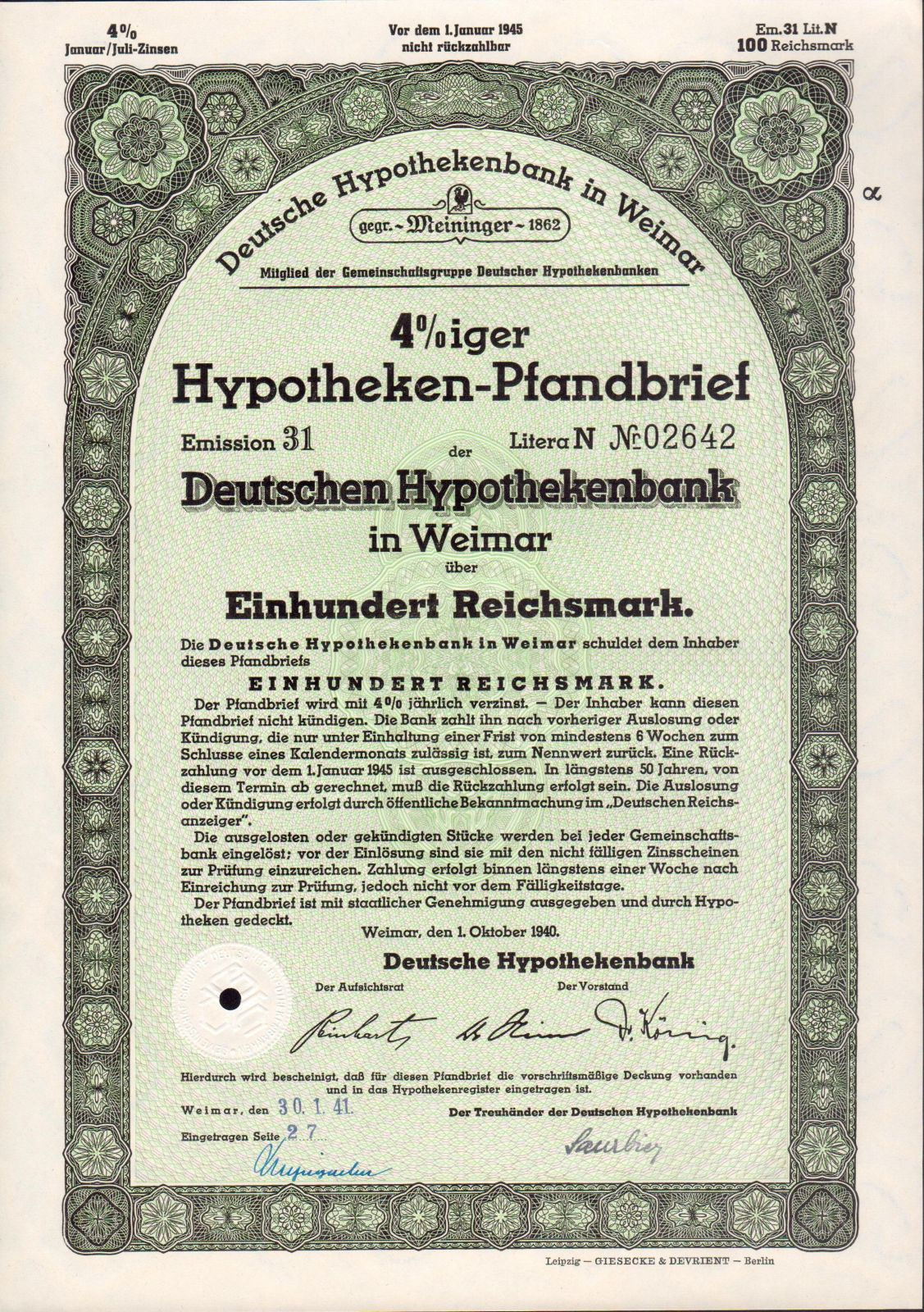 Dluhopis Deutschen Hypothekenbank in Weimar/1940/, 100 Reichsmark, 4 %, formát A4