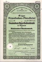 Dluhopis Deutschen Hypothekenbank in Weimar/1941/, 100 Reichsmark, 4 %, formát A4