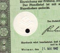 Dluhopis Deutschen Hypothekenbank in Weimar/1942/, 100 Reichsmark, 4 %, formát A4