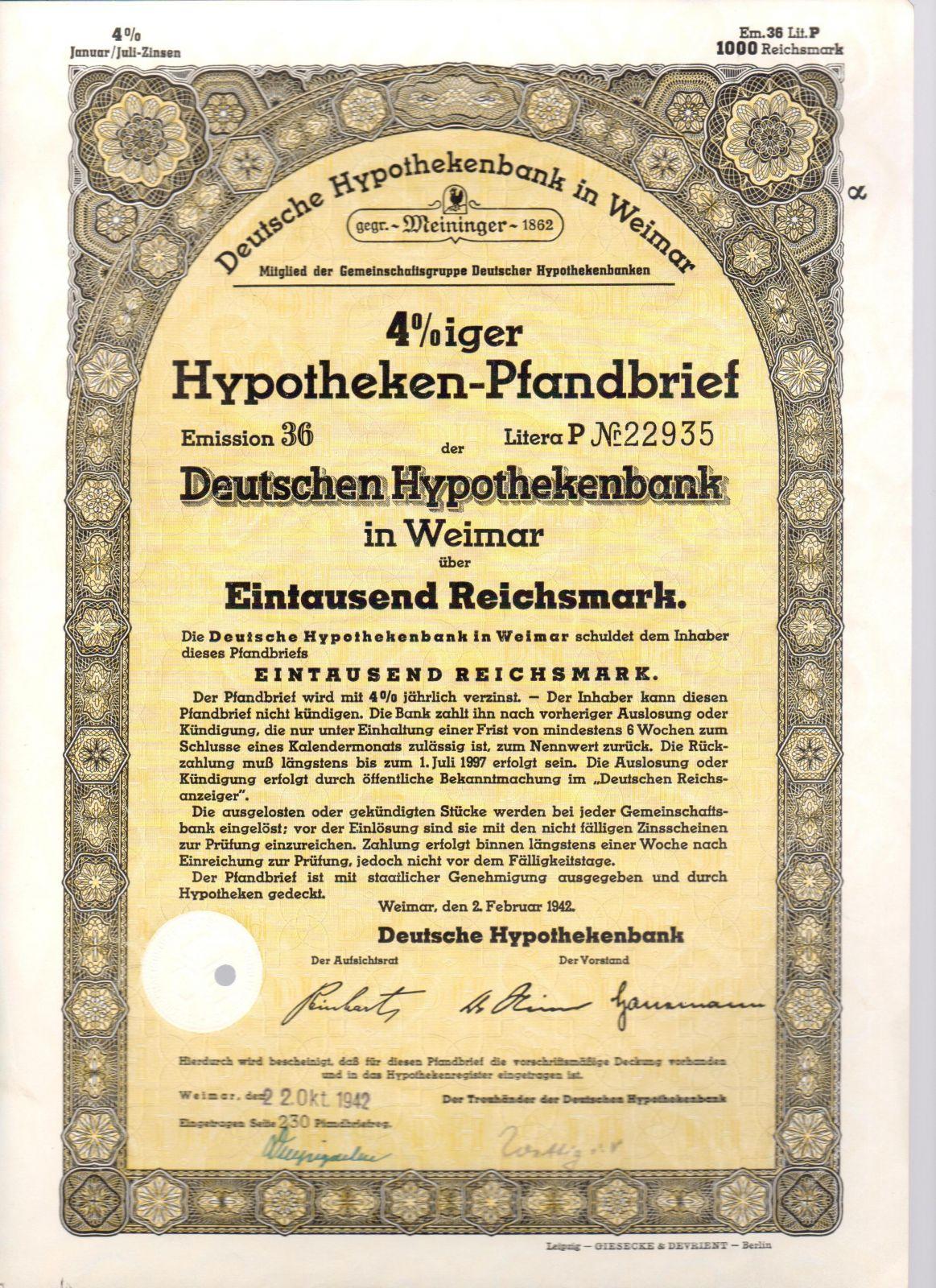 Dluhopis Deutschen Hypothekenbank in Weimar/1942/, 1000 Reichsmark, 4 %, formát A4