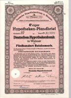 Dluhopis Deutschen Hypothekenbank in Weimar/1942/, 500 Reichsmark, 4 %, formát A4