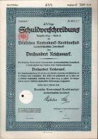 Dluhopis Deutschen Rentenbank/1934/, 300 Reichsmark, 4,5%, formát A4