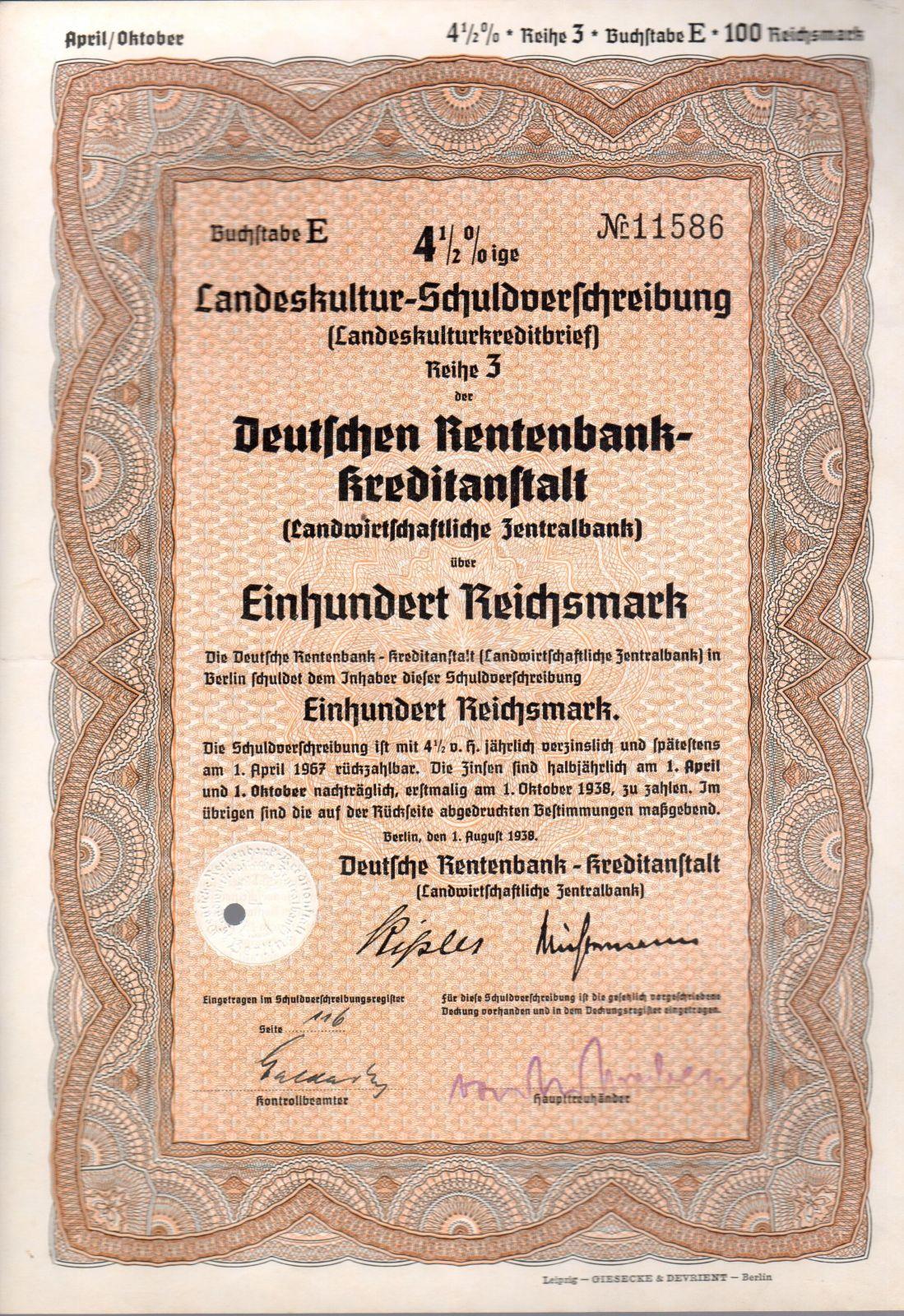 Dluhopis Deutschen Rentenbank Kreditanstalt, Berlín/1939/ 100 Reichsmark, 4 1/2%, formát A4