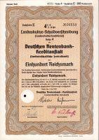 Dluhopis Deutschen Rentenbank Kreditanstalt, Berlín/1938/ 100 Reichsmark, 4 1/2%, formát A4