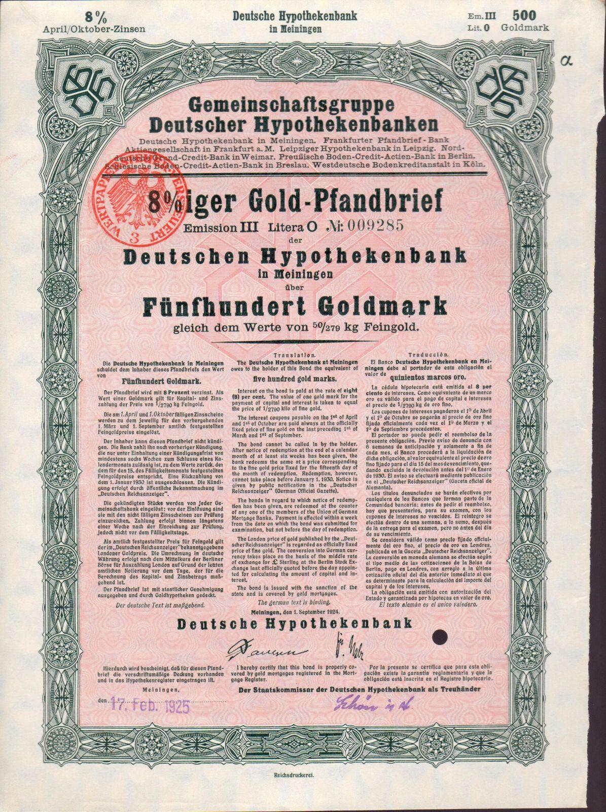 Dluhopis Gemeinschaftsgruppe Deutscher Hypothekenbanken, Meininger/1924/, 500 Goldmark 8%, formát A4