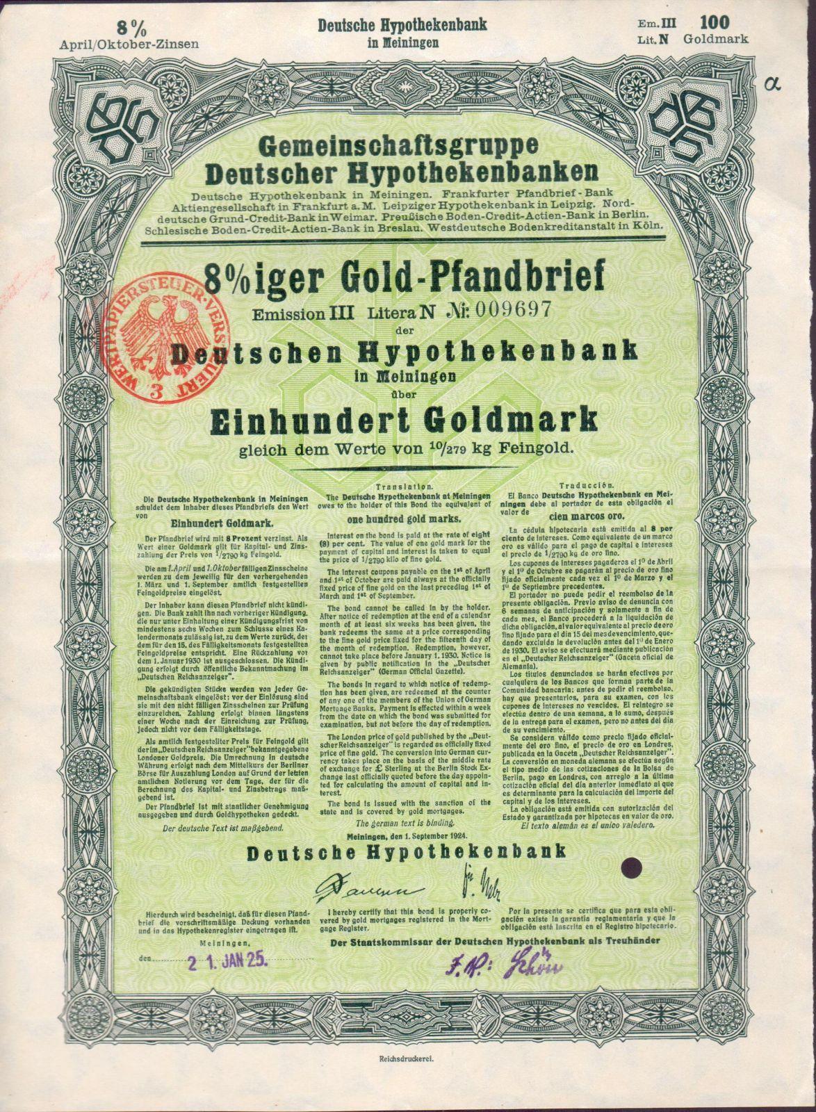Dluhopis Gemeinschaftsgruppe Deutscher Hypothekenbanken, Meininger/1924/, 100 Goldmark 8%, formát A4