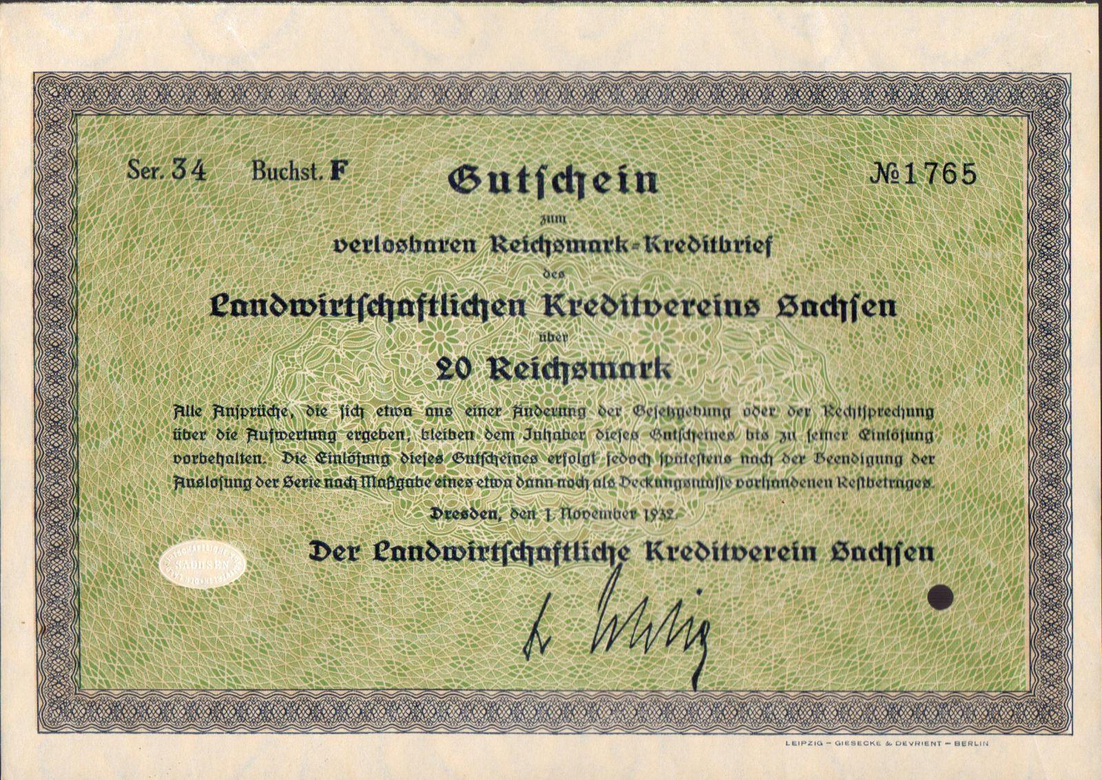 Dluhopis Landwirtschaftlichen Kreditverein Sachsen, Dresden/1930/, 20 Reichsmark