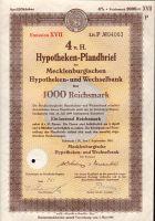 Dluhopis Mecklenburgischen Hypotheken und Wechselbank/1941/, 1000 Reichsmark, 4 %, formát A4