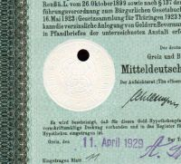 Dluhopis Mitteldeutschen Bodenkredit-Anstald, Berlín/1929/, 100 Goldmark=35,842g Au, 8%, formát A4