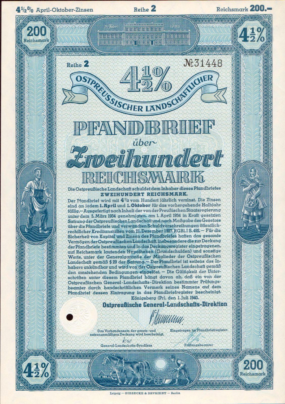 Dluhopis Ostpreussischer Landschaftlicher, Königsberg/1940/, 200 Reichsmark 4 1/2%, formát A4