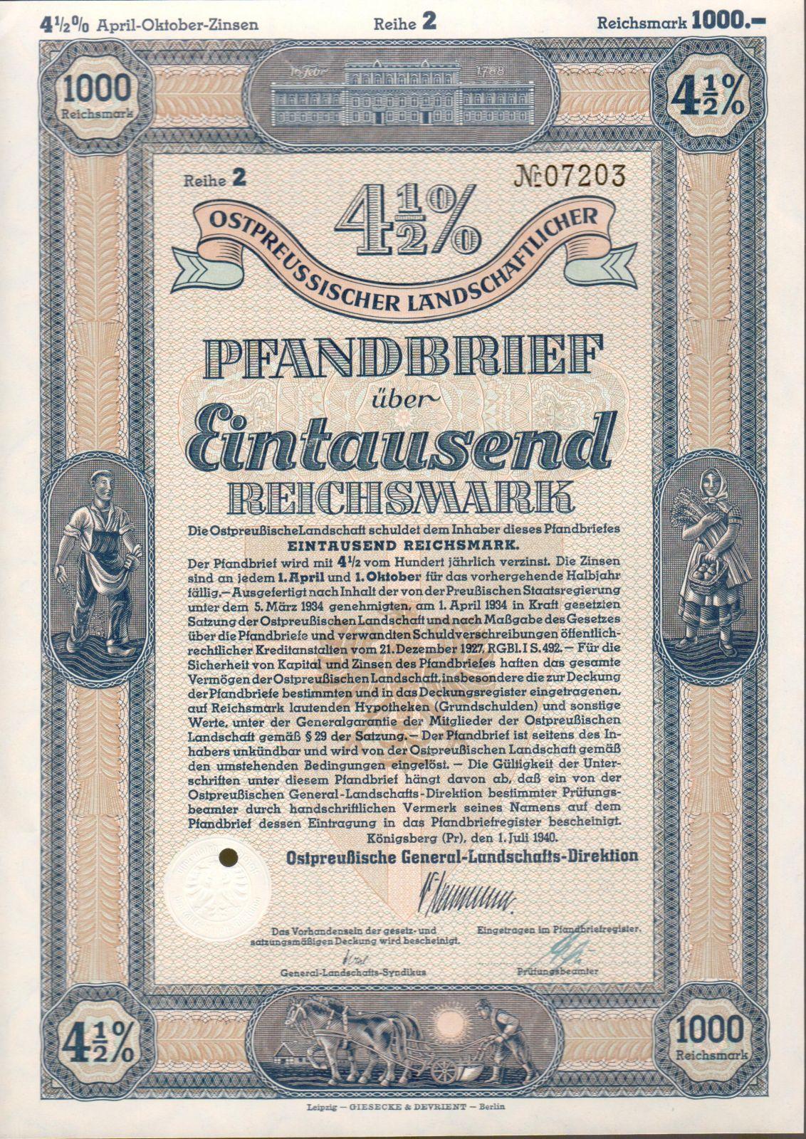 Dluhopis Ostpreussischer Landschaftlicher, Königsberg/1940/, 1000 Reichsmark 4 1/2%, formát A4