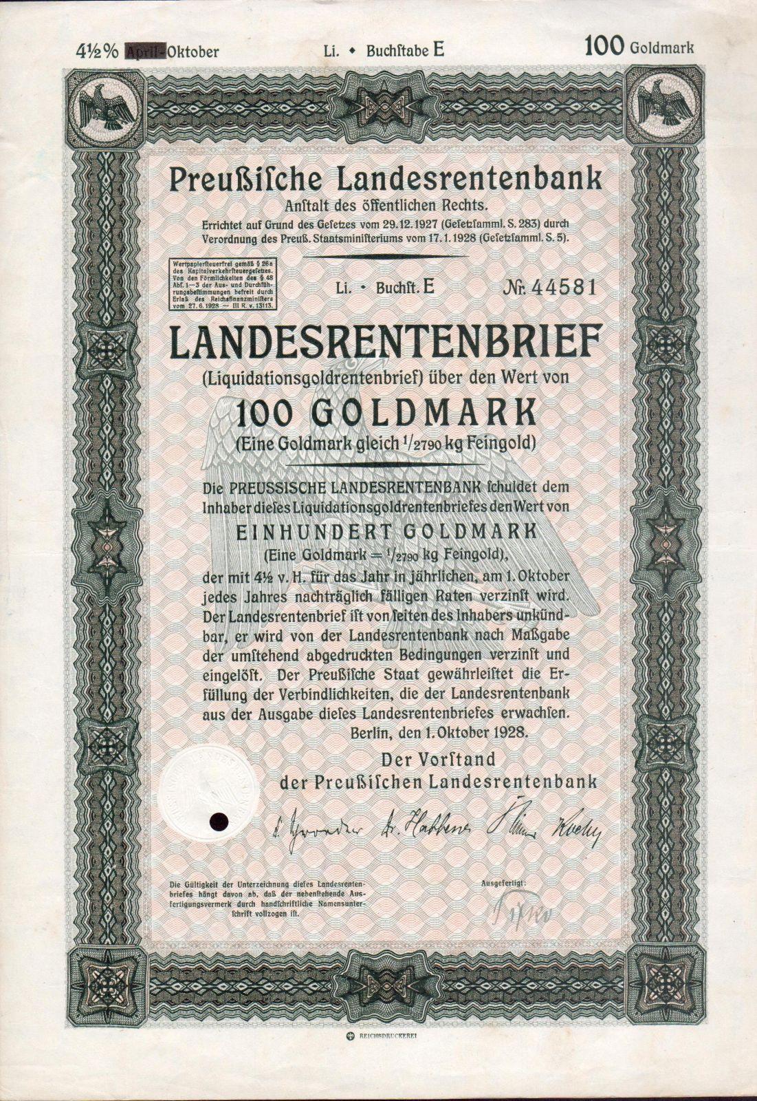 Dluhopis Preussische Landesrentenbank, Berlín/1928/, 100 Goldmark, 4 1/2%, formát A4