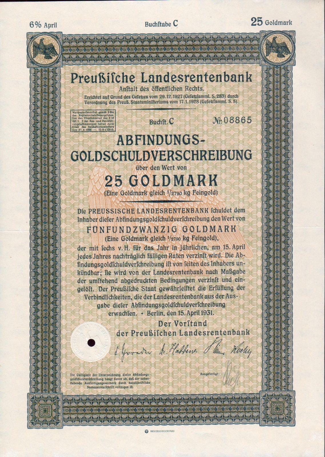 Dluhopis Preussische Landesrentenbank, Berlín/1931/, 25 Goldmark, 6%, formát A4