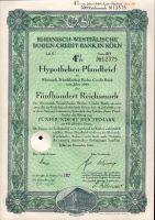 Dluhopis Rheinisch-Westfälische Boden-Credit-Bank in Köln/1940/ 500 Reichsmark, 4%, formát A4