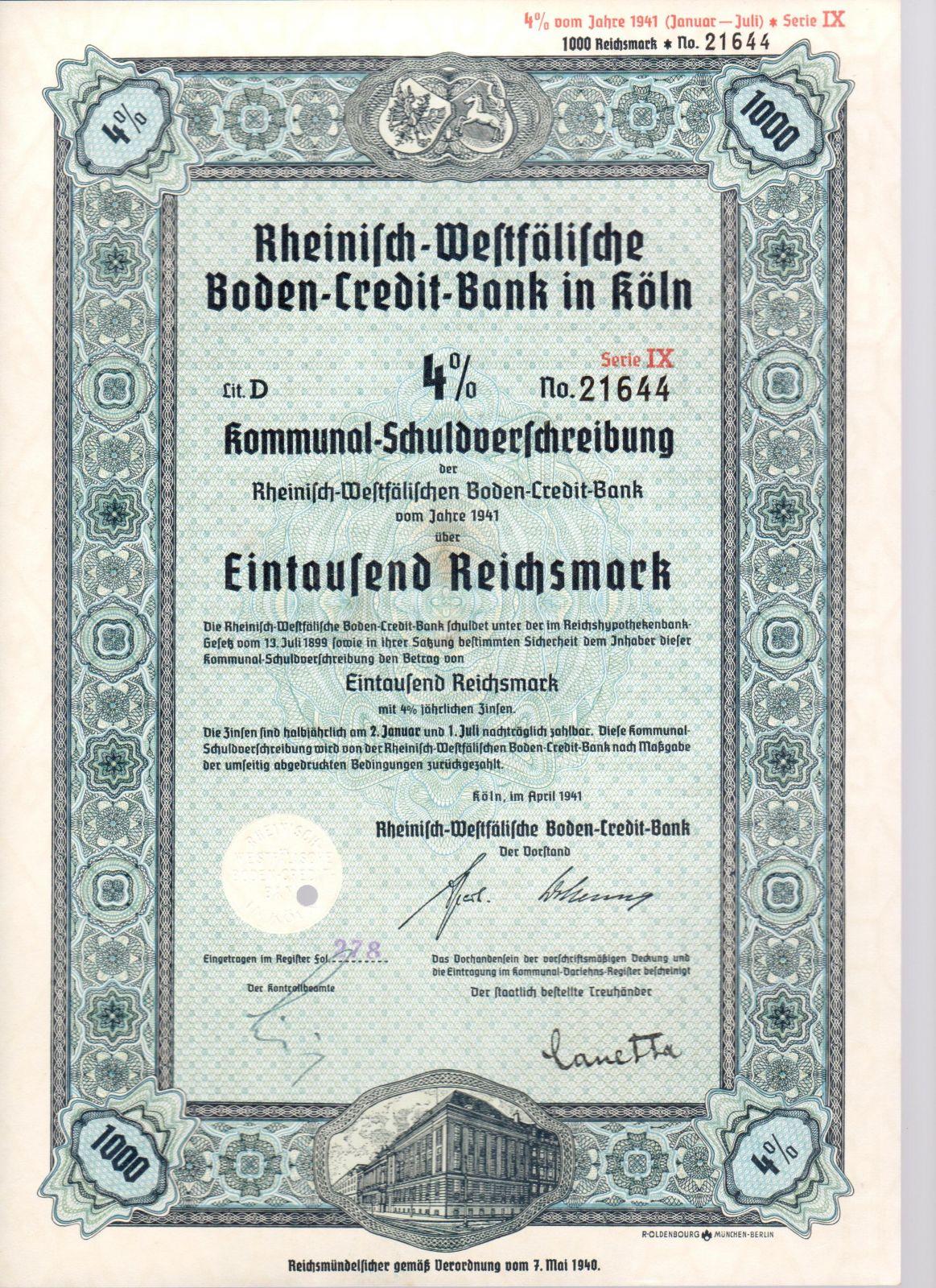 Dluhopis Rheinisch-Westfälische Boden-Credit-Bank in Köln/1941/ 1000 Reichsmark, 4%, formát A4